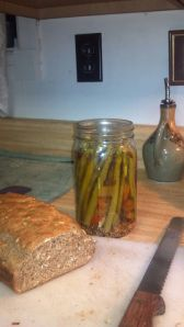 Pickled Asparagus and beer bread. Dinner.