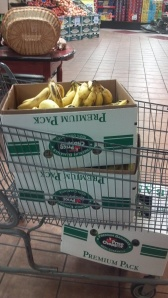 This is what happens when you are planning a fun run and go to the grocery store at 6:00 am...you leave with two cases of free bananas and one discounted case. Winning!