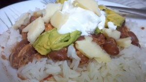 I'm seeing a food theme here...crockpot Mexican chicken over rice with avocados, sour cream and NY Cheddar.. Yum.