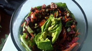 Another delicious salad with carrots, beets, beet greens, avocado