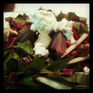 Beet greens and swiss chard topped with goat cheese.