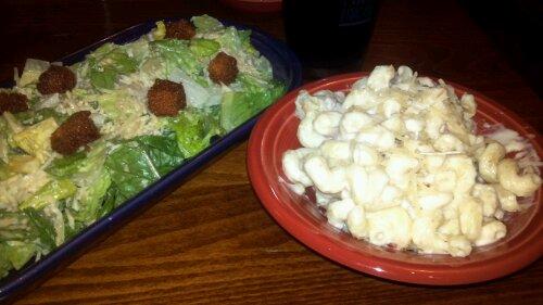 My chipotle Caesar and macaroni and cheese