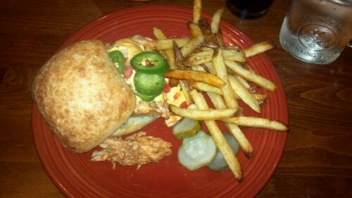 Ben's pulled chicken and French fries