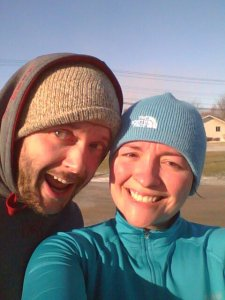 Post Turkey Trot...My face is frozen because I don't have a beard.